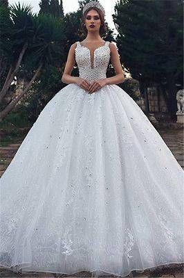 110ccbcc8ae0a4 Unique Straps Sleeveless Appliques V-Neck Rhinestones Ball Gown Wedding  Dresses