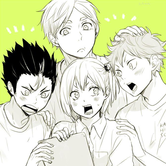 Shina-love, Haikyuu!!, Sugawara Koushi, Hinata Shouyou, Hitoka Yachi, Nishinoya Yuu