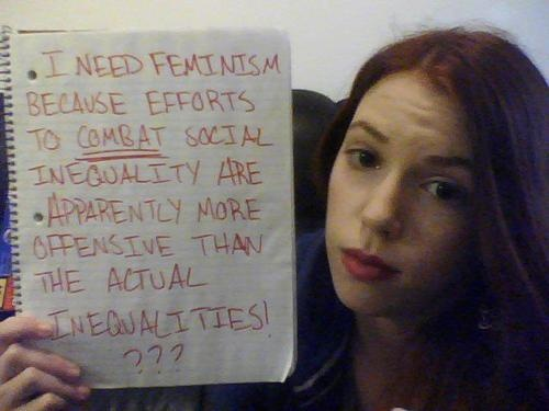 """I need feminism because efforts to combat social inequality are apparently more offensive than actual inequalities!"""