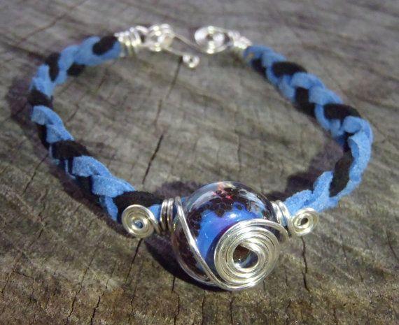 Braided soft Velvet Bracelet  Blue & Black by BrigittesJewels, $20.00