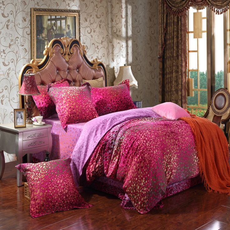 Red and purple bedding
