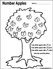 Preschool Printable Worksheets Fall Theme Math