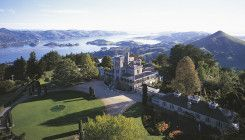 Perched high on the hills of the Otago Peninsula, the views from historic Larnach Castle are breathtaking.