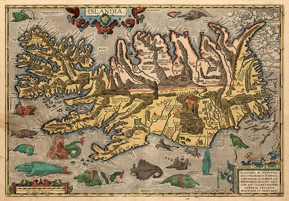Map of Iceland by Abraham Ortelius, 1603.  Restoration Hardware Home Deco Style Old Wall Vintage Reprint.