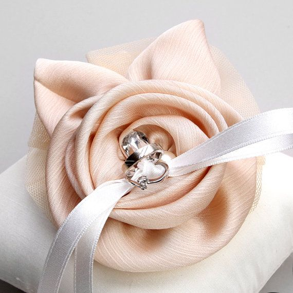Ring pillow wedding ring pillow champagne silk flower by woomipyo, $40.00