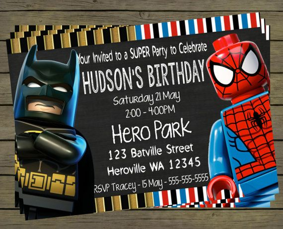 Spiderman  Batman  Digital Birthday Invitation  by PYOpartyinvites