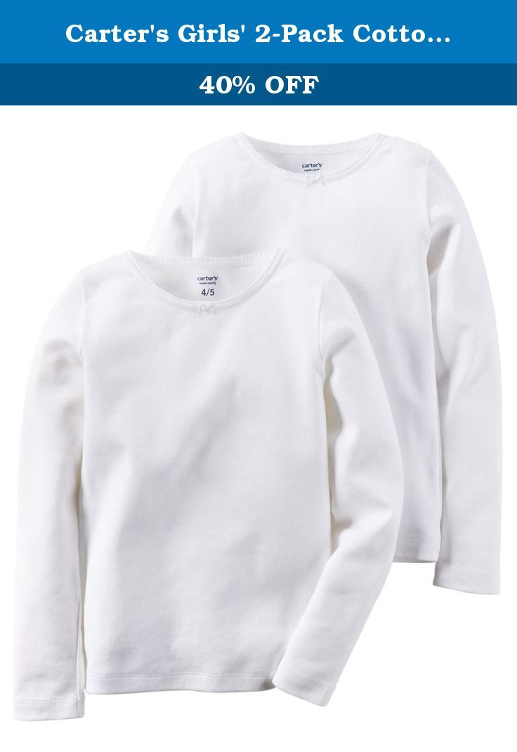 Carter's Girls' 2-Pack Cotton Longs sleeve Undershirts (4-5). 2-pack. Long sleeves. Tag-free label. Soft, breathable cotton. Care and Cleaning: Machine wash.