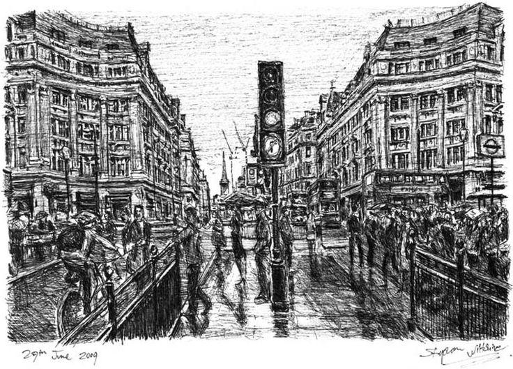 Oxford Street in the rain - Stephen Wiltshire