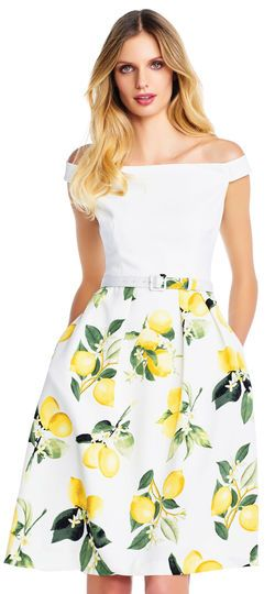 Off the Shoulder Belted Fit and Flare Dress with Fresh Lemon Skirt