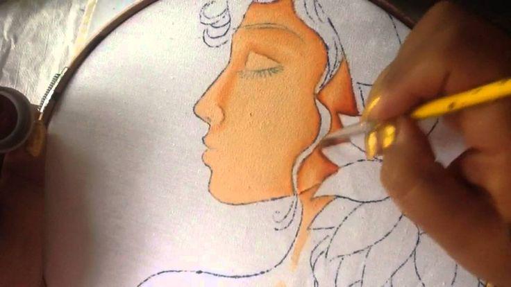 Pintura en tela rostro girasoles # 1 con cony
