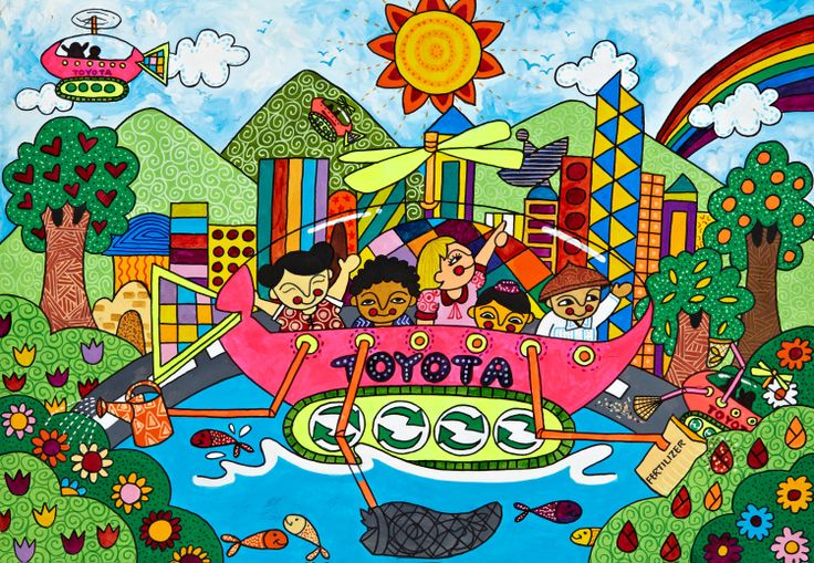 'Free Solar Car' by Jerrika C. Shi, Aged 10, Philippines: 3rd Contest, Bronze #KidsArt #ToyotaDreamCar