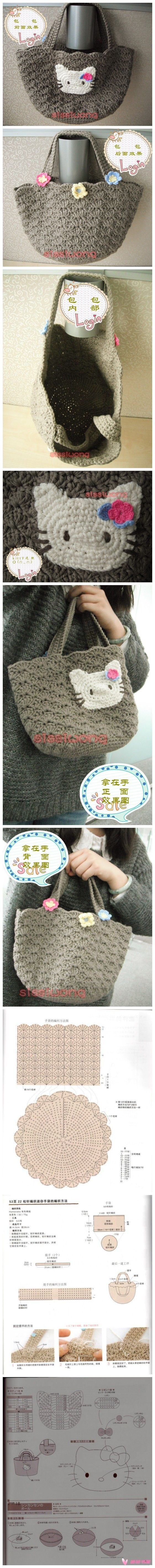 Free Chinese crochet pattern - Hello Kitty (other really cool stuff on this site, too...but all in Chinese)