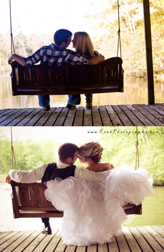 Precious pic on porch swing from engagement session and again on wedding day! Awesome idea! Roeh Photography