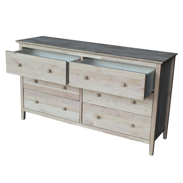 International Concepts Brooklyn 32.75 in. H x 56 in. W 6-Drawer Dresser in Unfinished Wood