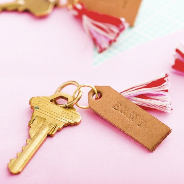 How to Make Leather Stamped Keychains in 5 Minutes | Brit + Co