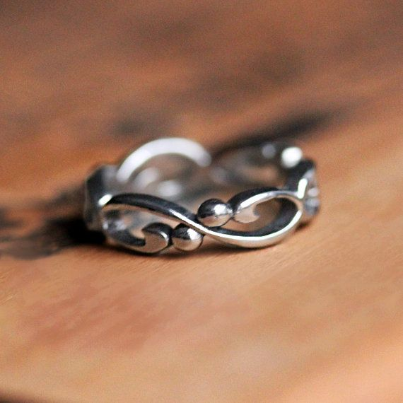 White gold infinity wedding band for a unique way to say 'forever' on your wedding day. by metalicious