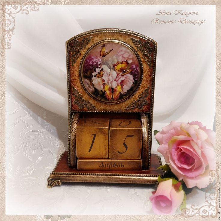"""Купить Вечный календарь """"Бабочки"""" (на заказ) - коричневый, календарик, календарь настольный, календарь декупаж"""