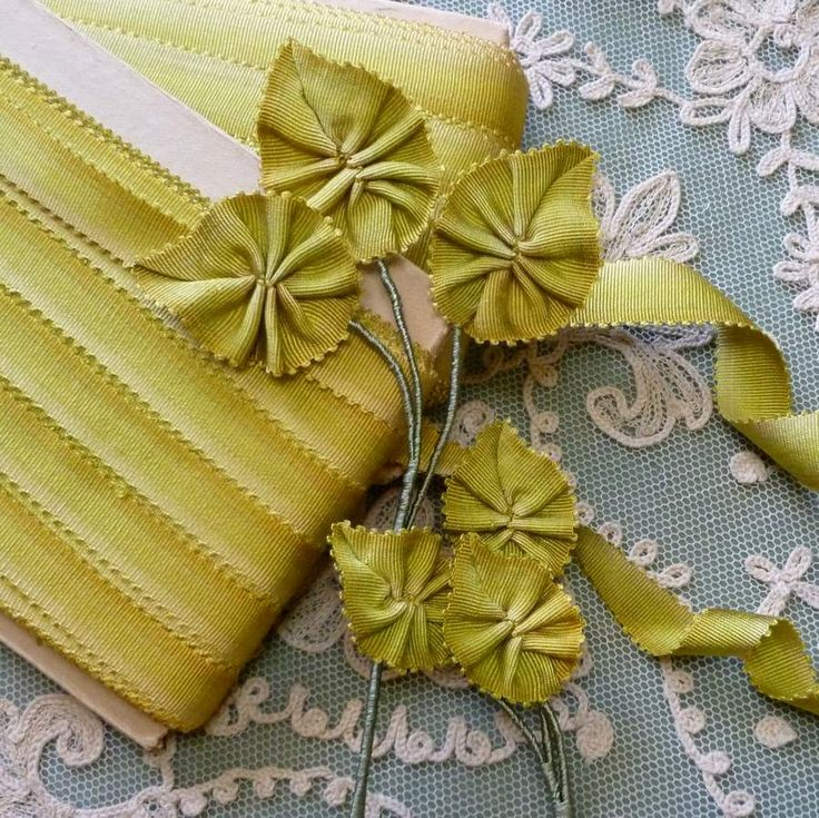 Circa ′s silk french picot ombre ribbons golden moss