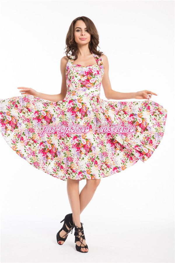 free shipping  new halterneck floral pinup 1950s swing retro vintage dress plus size    S-8XL