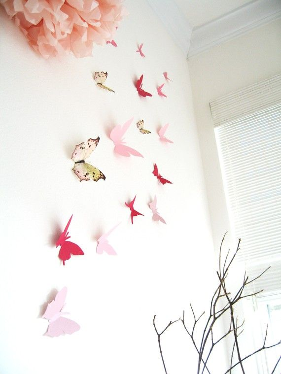 15 3D Butterfly Wall Art, Assorted Multi-color Butterflies, Pink, Red, Paper, Cardstock. $25.00, via Etsy.