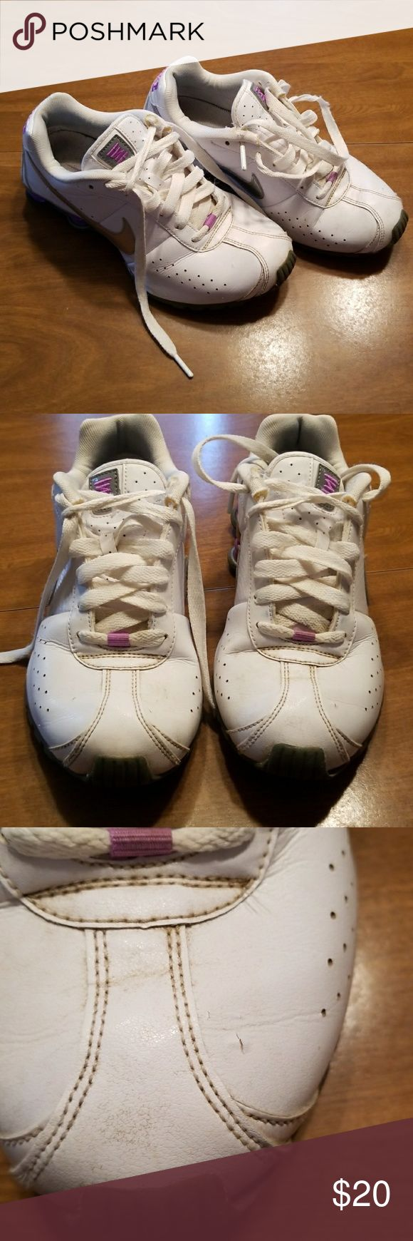 Nike shox classic White and lavender, some wear as shown in pics, these were worn a lot but still have some life left, average condition. Nike Shoes Sneakers