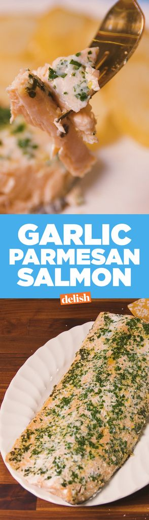 Garlic Parmesan Salmon Ingredients  1 2-3 lb salmon fillet 1 tbsp. extra-virgin olive oil 2 tbsp. Freshly Chopped Parsley 1/4 c. finely grated Parmesan 4 cloves garlic, minced kosher salt Freshly ground black pepper
