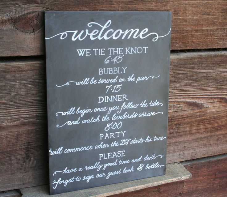 Wedding Day Welcome Timeline Of Events One A Set 10 Chalkboards