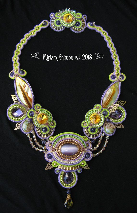Soutache necklace in Gold Lime Purple One of a by MiriamShimon