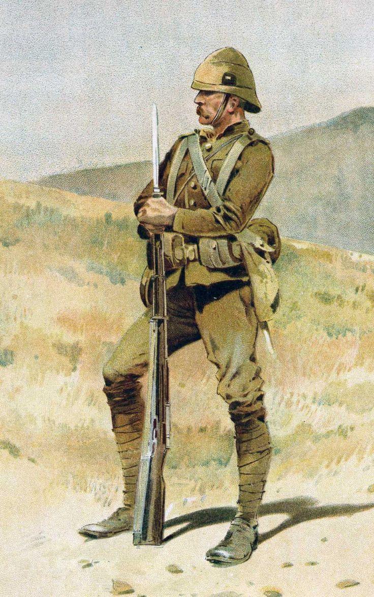 British infantry officer on sentry duty, Boer War