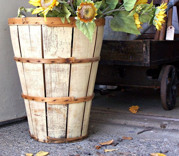 decorating with a tall bushel basket   ... Farmhouse Wood Orchard Bushel Basket Upcycled to a Buttery Yellow