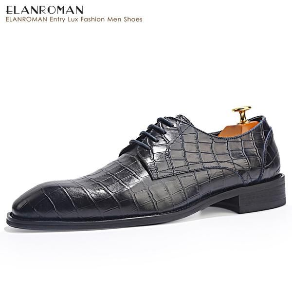 ELANROMAN men shoes top brand genuine leather fashionable lace up Dress Moccasins Flats  Italian style Blue leather shoes