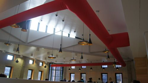 Round shaped fabric Duct at the Queen Mary University Cafe area