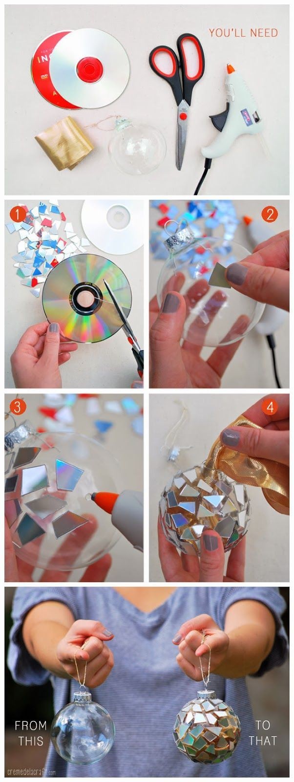 Recycled CD Mosaic Ornaments.
