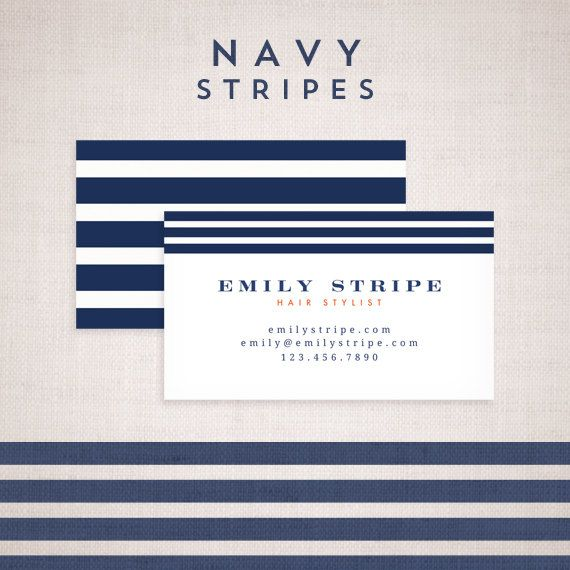 Calling Card Template Design Paris Navy Stripe By Asamihasegawa 15 00 Unique Business Cards Design Striped Business Card Unique Business Cards