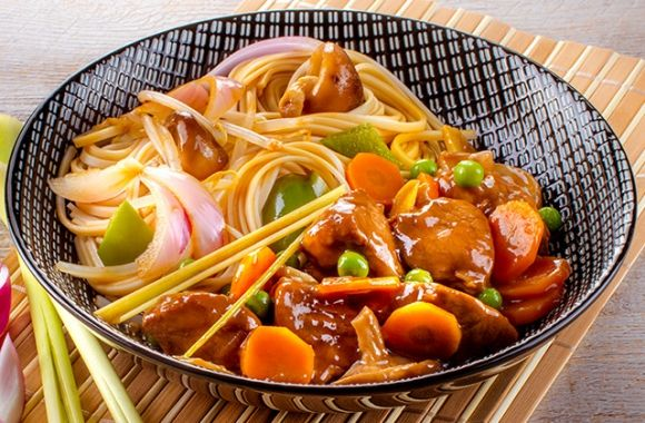 Sweet Soy Pork with Chinese Noodles