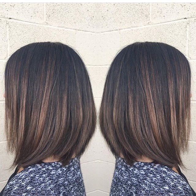 Brunette highlights and chic bob cut