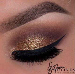 Maquillaje de noche con glitter dorado paso a paso