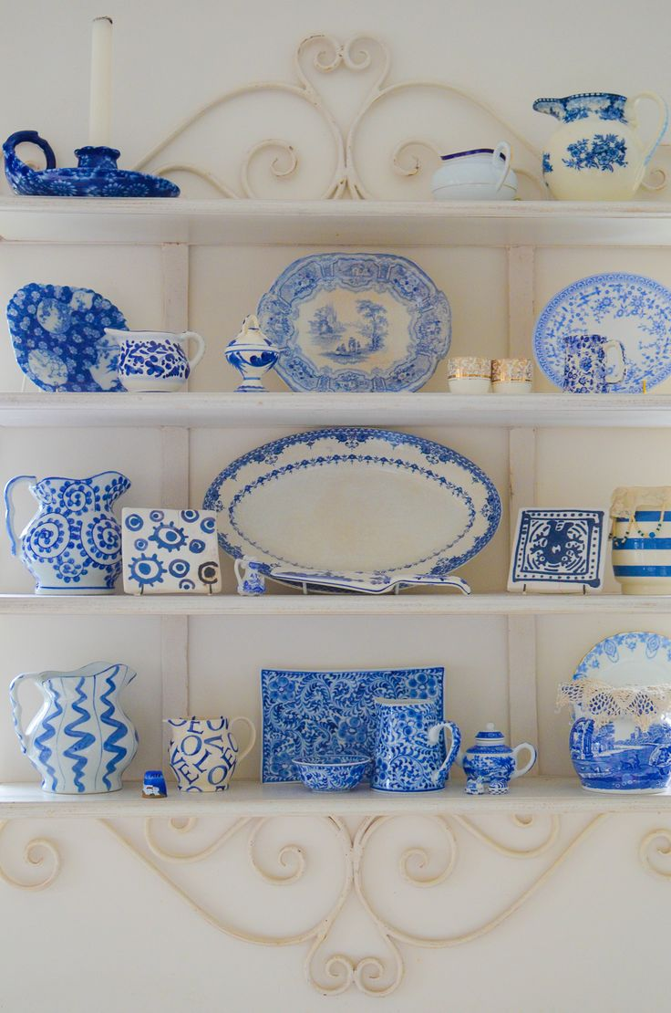 """French Provencal"" shelving to display a bit of my blue and white"