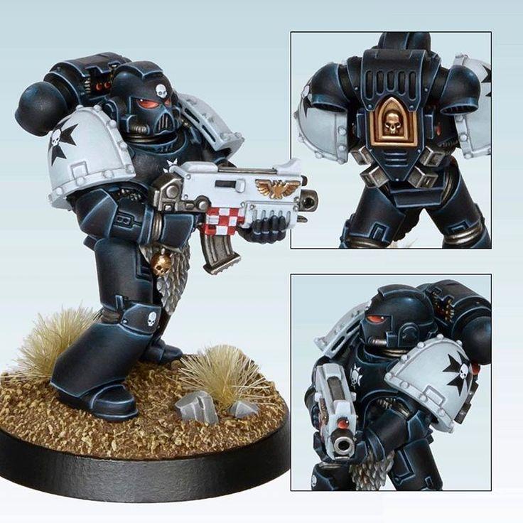 Black Templar, painted for Golden Demon: Space Marines in 2015. #spacemarines #miniaturepainting #warhammer40k #gamesworkshop