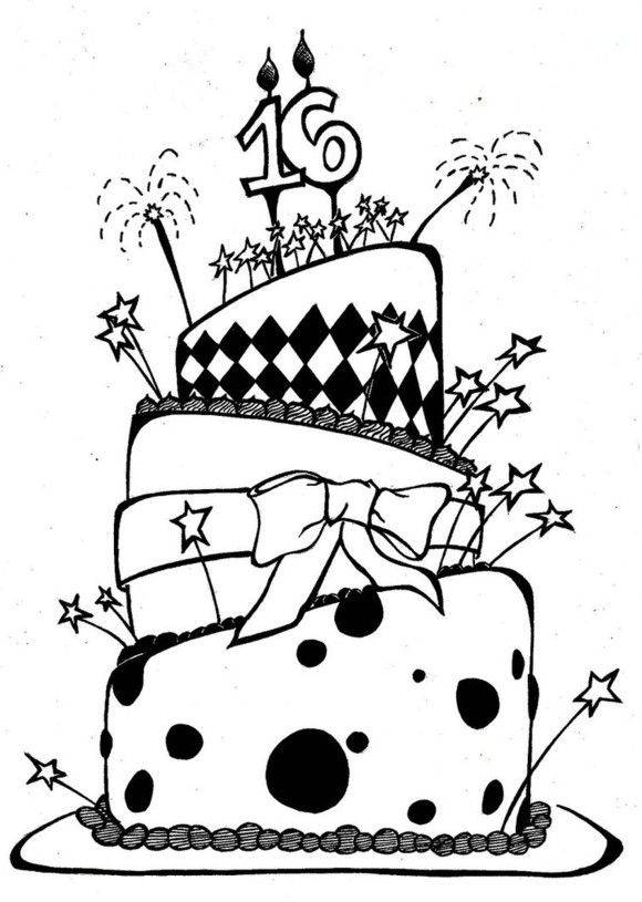 awesome birthday cake coloring page