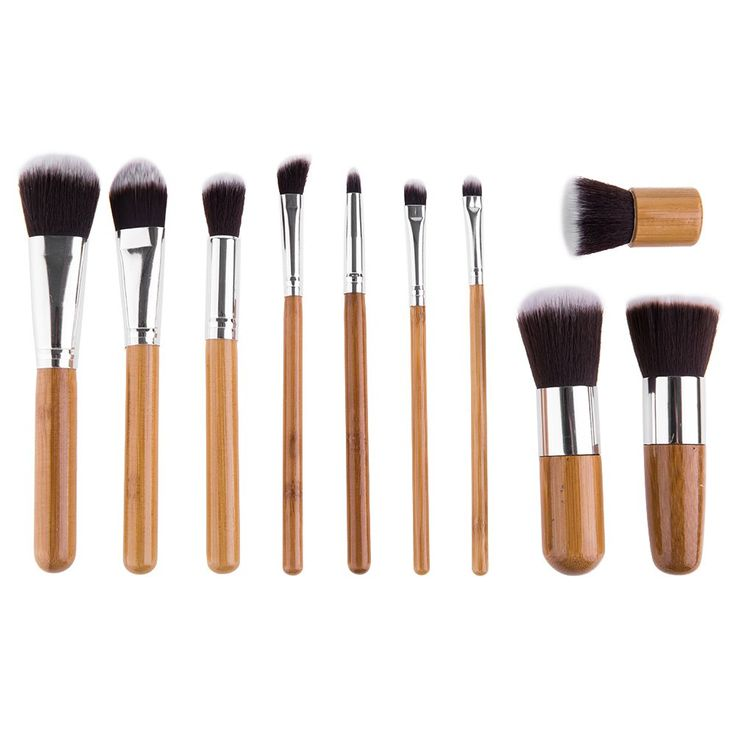 Beauty 11 Pcs Wool Makeup Brush Set with Pure Color Pouch