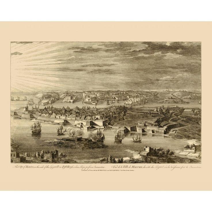 Old Veduta - teh Grand Harbour of Malta, 1818.  #map, #antiquemap, #vintagemap, #oldmap #historicalmap, #mapreproduction #mapreproductions #oldmaps, #vintagemaps, #antiquemaps, #historicalmaps #handmadepaper #maps, #malta, #valletta, #cityofmalta, #grandharbour, #mapdecor, #traveldecor
