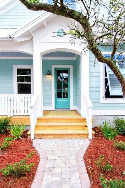 using varying shades of aqua color for your exterior paint work.