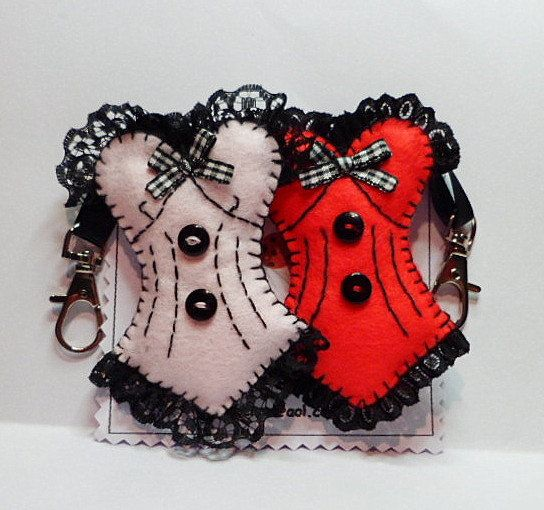 Handmade Felt Burlesque style Corset --- these are key rings, but wouldn't this make a cute sachet for your lingerie drawer?