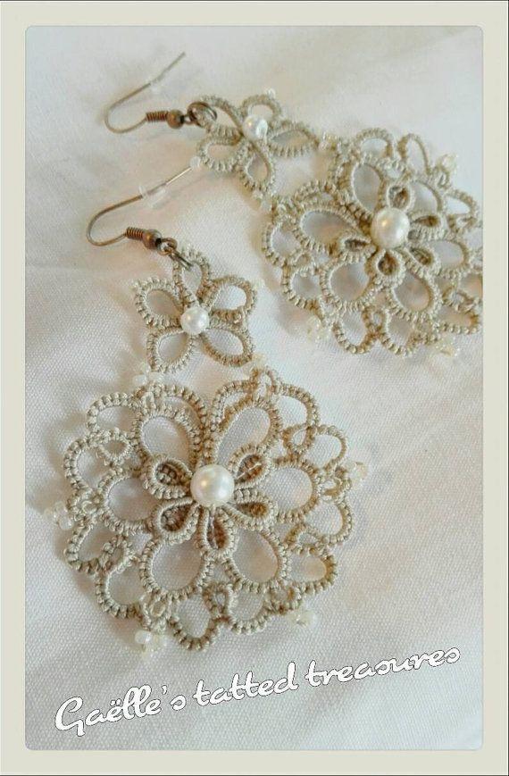Guarda questo articolo nel mio negozio Etsy https://www.etsy.com/listing/398262481/lace-tatted-jewels-tatted-earrings