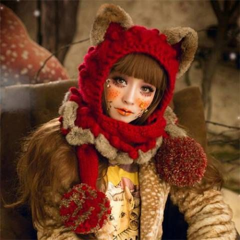 6dc6f546 Pin by BUYHATHATS LIMITED on Cosplay cat winter hats with ears for women |  Hooded scarf, Hats, Hats for women