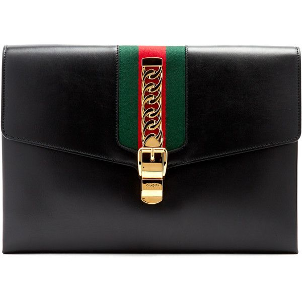Gucci Sylvie leather shoulder clutch ($2,390) ❤ liked on Polyvore featuring bags, handbags, clutches, black, leather purses, gucci purse, striped tote bag, stripe tote bag and leather handbag tote