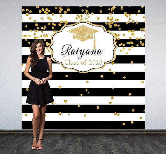 Graduation Personalized Photo Background | Black and White Stripes Photo Background | Class of 2019 photo background | Photo booth background