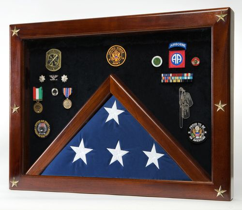 Military Medal Shadow Box Display Case for Memorial Flag Blue Felt - The Classic Shadow Box for memorial flags and memorabilia will make a beautiful addition to any home or office. With its good looks and durable construction, this piece is sure to become a treasured keepsake. The curved base adds stability and style.