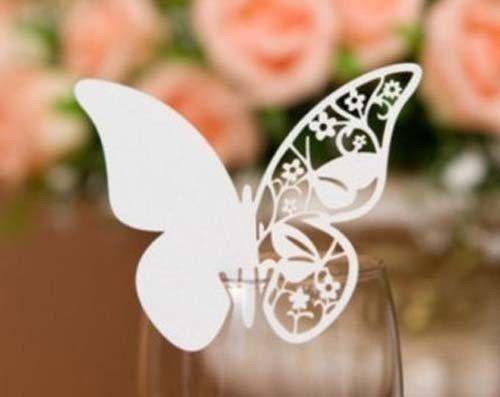 50 x farfalla bianca posto carta di nome   Bicchiere di vino nozze & il partito ricevimento cerimonia banchetto funzione tabella centrotavola decorazione per flauto